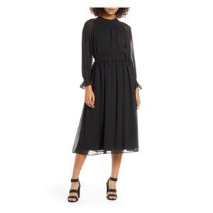 Chelsea28 Smocked Neck Chiffon Midi Dress